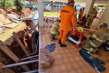 Operários são soterrados em obra na Octogonal