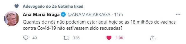 Twitter de Ana Maria Braga