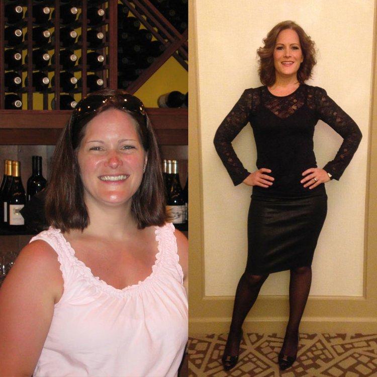 Antes e depois da perda de peso de 29,4 quilos de Liz Josefsberg