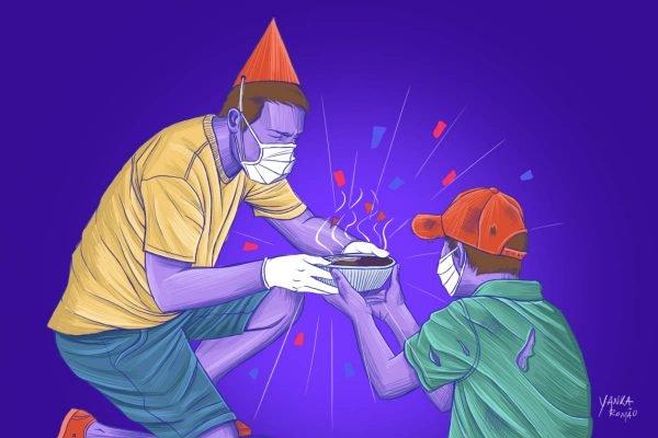 ilustração aniversário solidário na pandemia