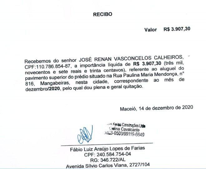Verba indenizatório de Renan Calheiros para bancar escritório do senador em Maceió, Alagoas