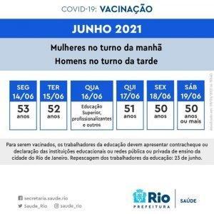 Calendário de vacinação do Rio. Foto: Prefeitura do Rio/Divulgação