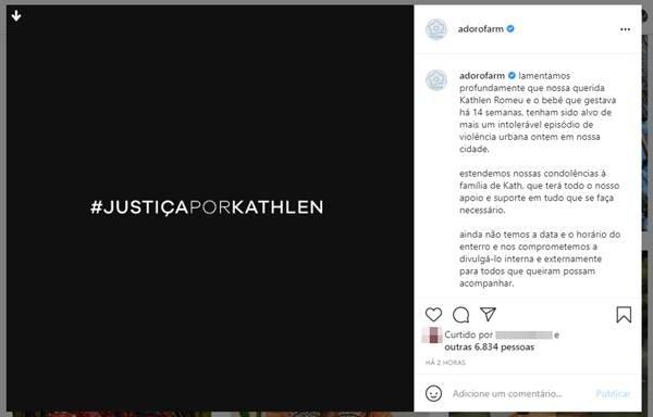 Publicação da Farm sobre a morte de Kathlen Romeu
