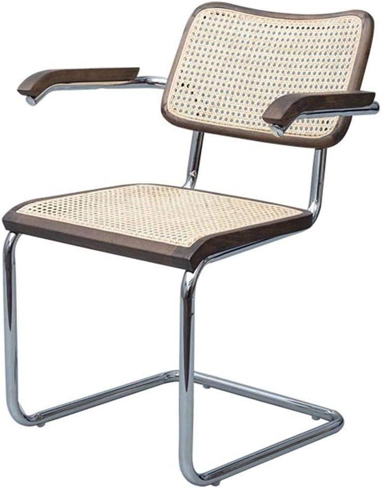 Cadeira cromada em madeira escura com braços, da Sun House