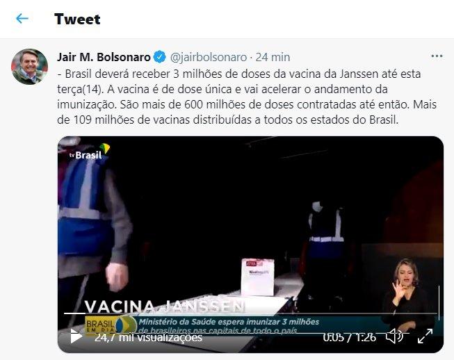 Post do presidente diz que as vacinas da Janssen chegarão até esta terça (15/6), mas data foi adiada