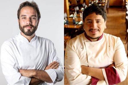 Montagem com duas fotos de chefs de braços cruzados
