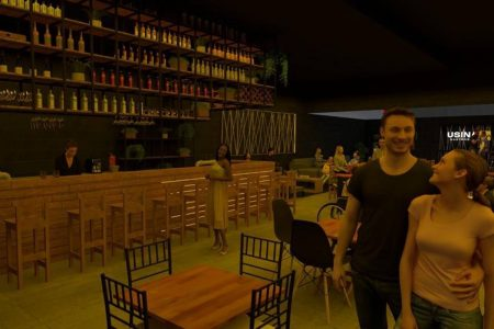 Projeto de bar com pessoas circulando