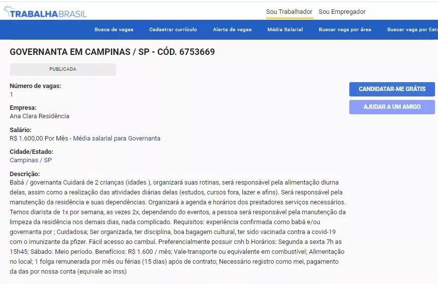 Vaga exige imunização contra a Covid-19 com a vacina da Pfizer