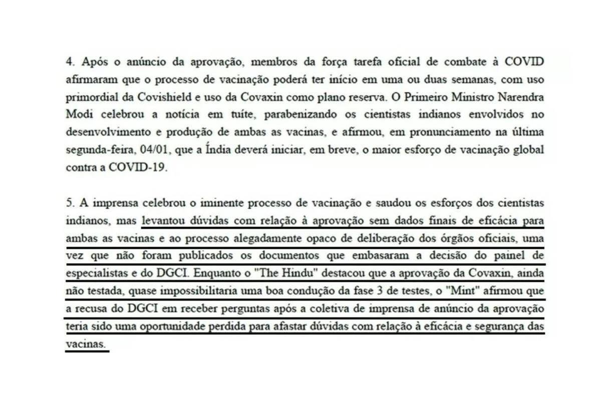ofício sobre a covaxin