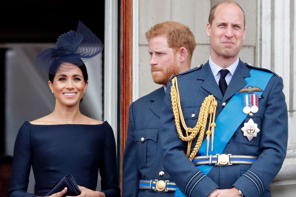 Meghan Markle e príncipes Harry e William