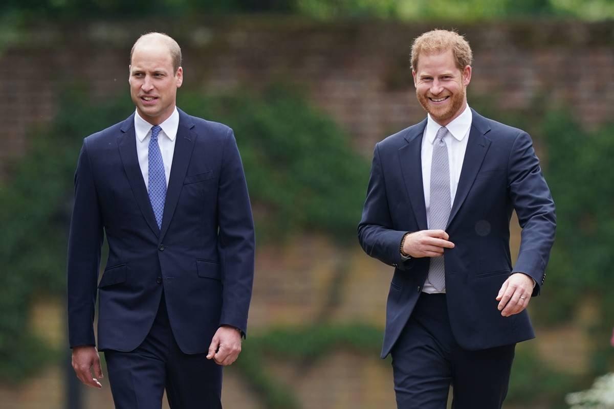 Principes William e Harry em evento do lançamento de estátua de Diana