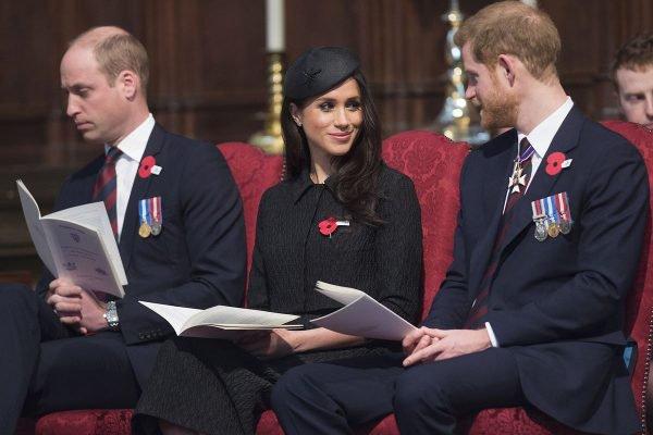 Príncipe William, Meghan Markle e príncipe Harry