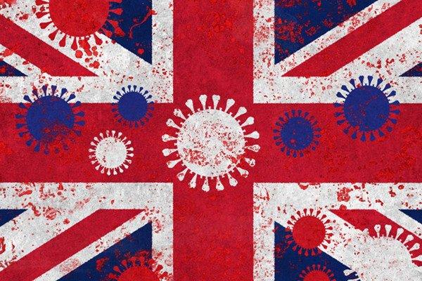 bandeira do reino unido com representação do coronavírus