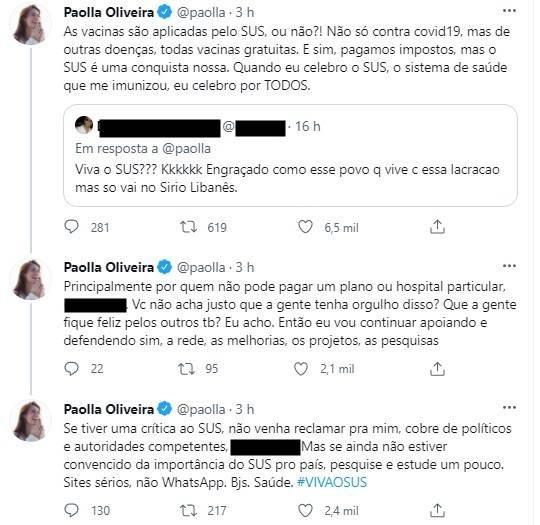 paolla oliveira vacina covid 19 rebate seguidor
