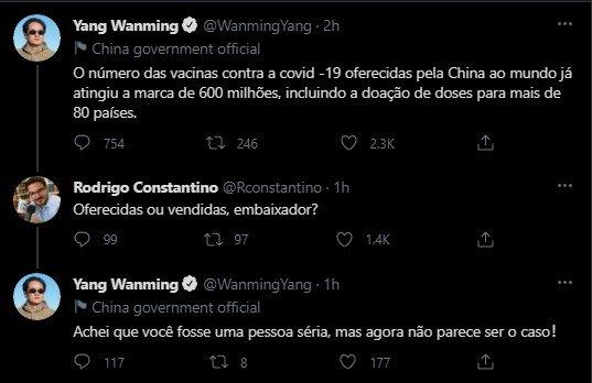 twiter embaixador chines