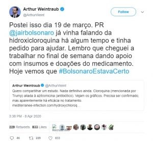 Arthur Weintraub exclui tuíte em afirmava trabalhar na captação de mais medicamentos para uso precoce contra a Covid-19.