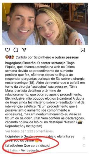 Fafa havia criticado Tiago