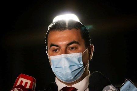 Deputado Luis Miranda, do DEM do Distrito Federal, durante coletiva após depor na sede da Polícia Federal, em Brasília 2