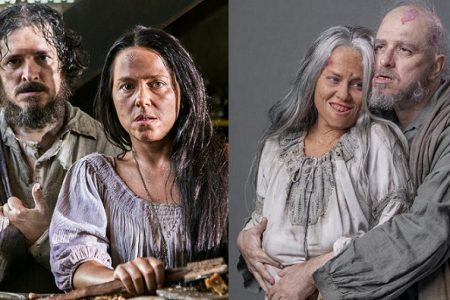 Licurgo (Guilherme Piva) e Germana (Vivianne Pasmanter) em Novo Mundo e Nos Tempos do Imperador