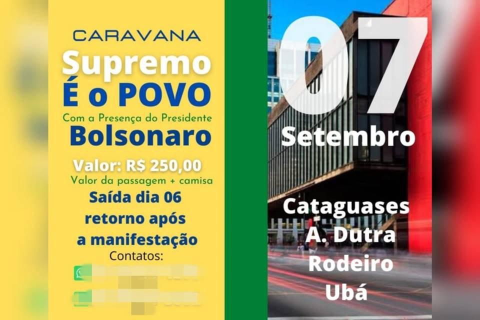apoiadores de bolsonaro anunciam caravanas em várias partes do brasil para atos do dia 7 de setembro
