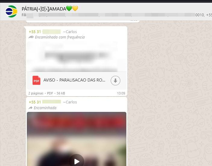 grupo bolsonarista whatsapp convoca para 7/9