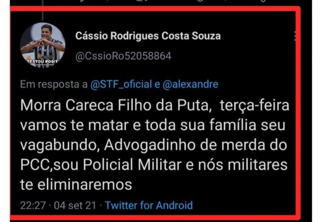 Ex-militar ameaça matar ministro Alexandre de MoraesTwitter/Reprodução