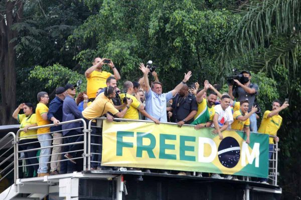 O presidente Jair Bolsonaro (Sem Partido), durante discurso para apoiadores na manifestação contra o STF na Avenida Paulista 4