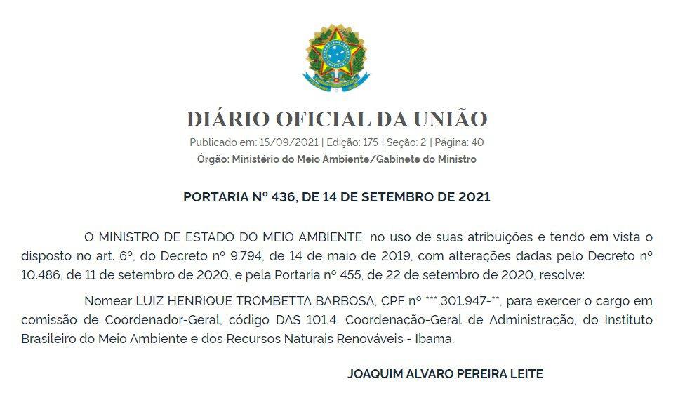 Nomeação de Luiz Henrique Trombetta Barbosa