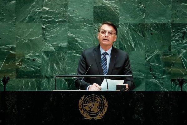 O presidente Jair Bolsonaro durante a abertura da 74ª Assembleia Geral das Nações Unidas