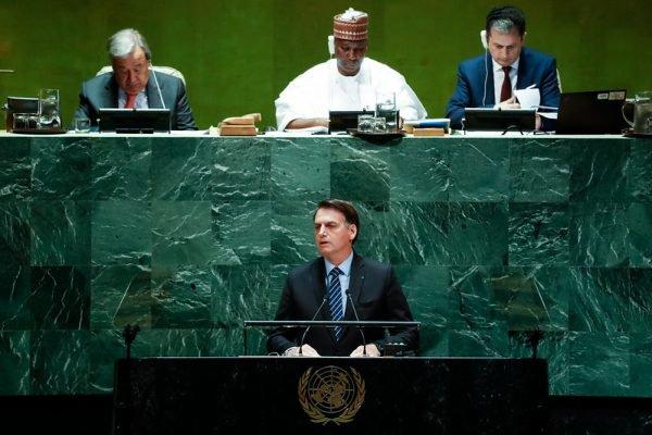 Presidente Jair Bolsonaro durante a abertura da 74ª Sessão da Assembleia Geral das Nações Unidas, em 2019