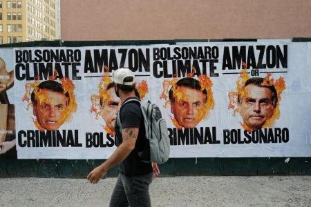 protesto contra Bolsonaro em NY