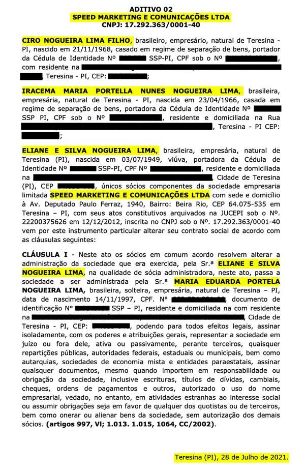 Ato assinado por Ciro Nogueira, em julho deste ano, sobre a Speed Marketing