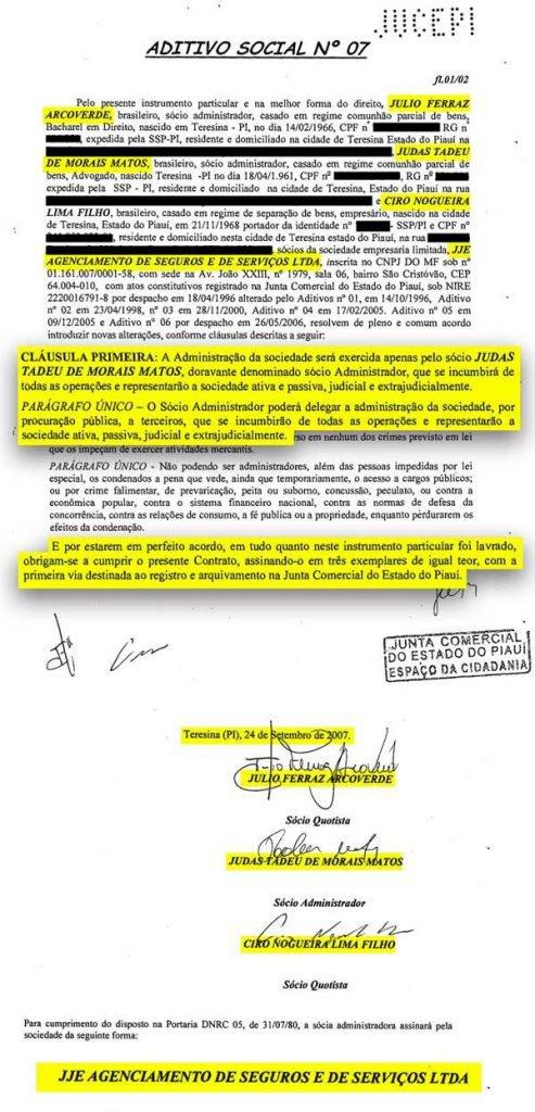 Ato assinado por Ciro Nogueira, em 2007, sobre a JJE Agenciamento de Seguros