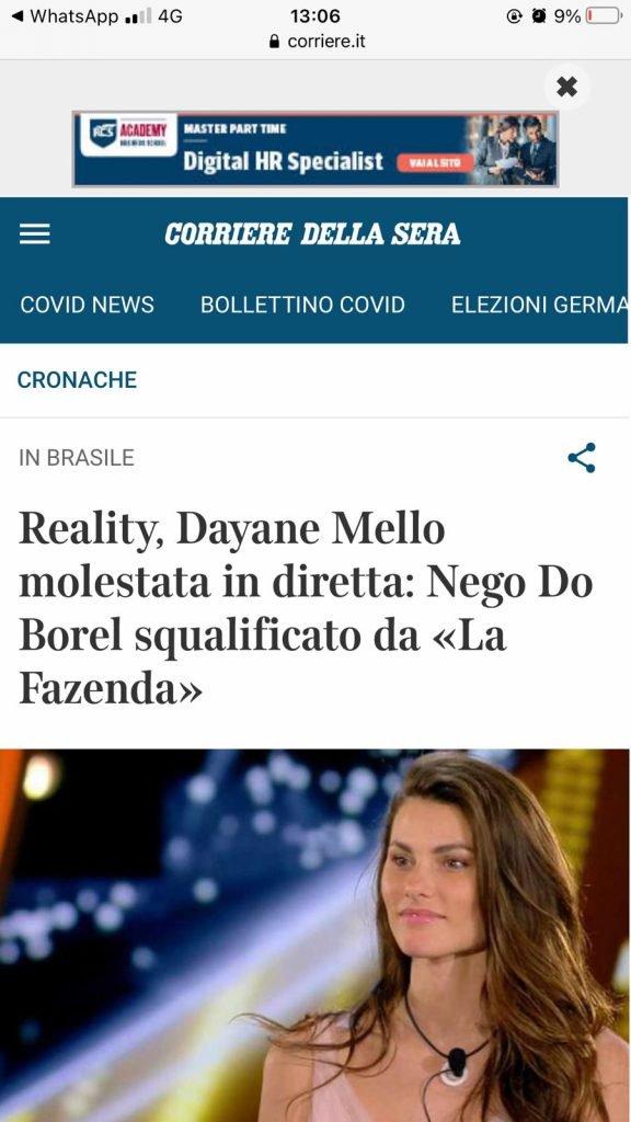 Notícia do Corriere Della Siera