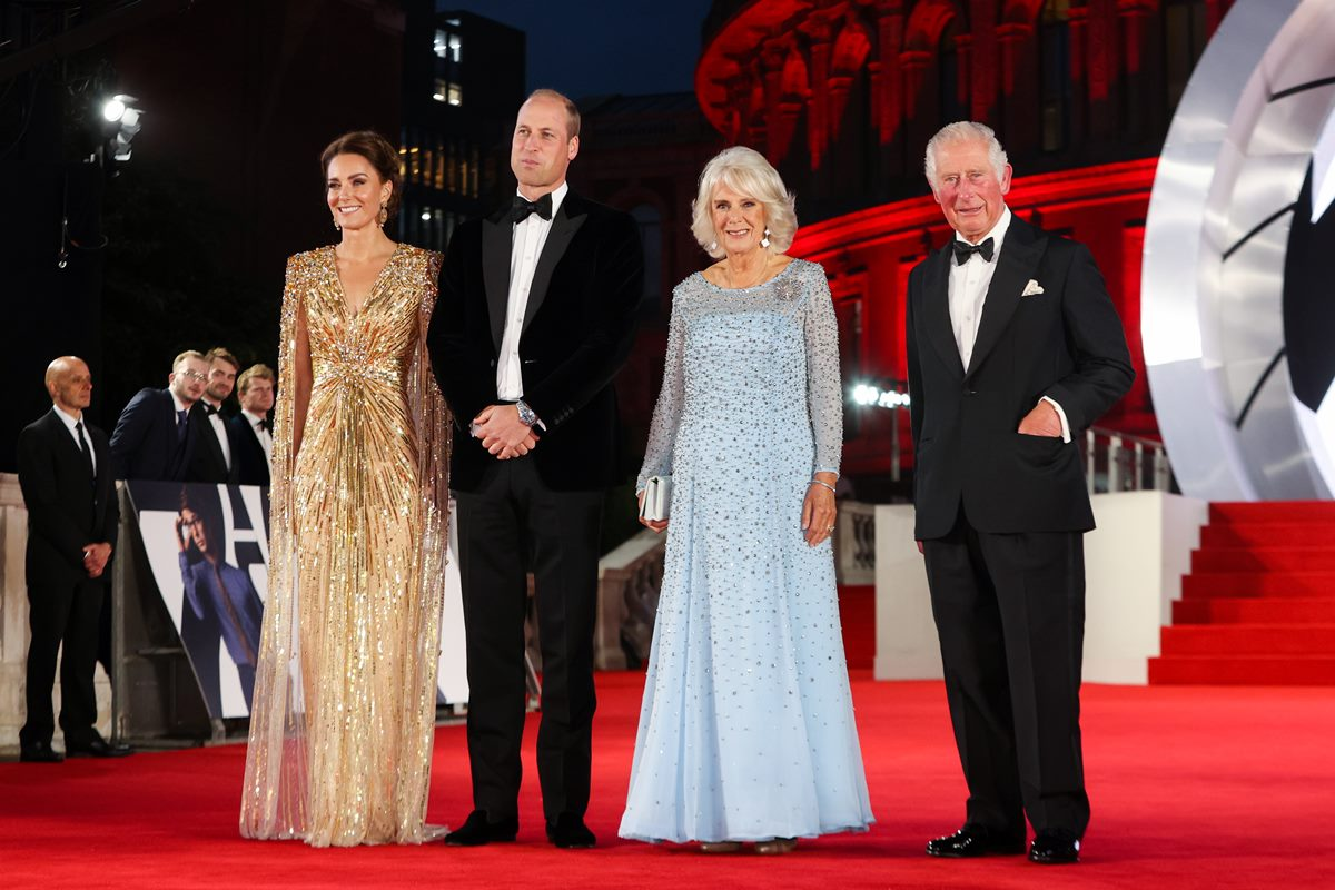 """The Prince Of Wales And The Duchess of Cornwall, And The Duke And The Duchess Of Cambridge Attend The World Premiere Of """"No Time to Die"""""""