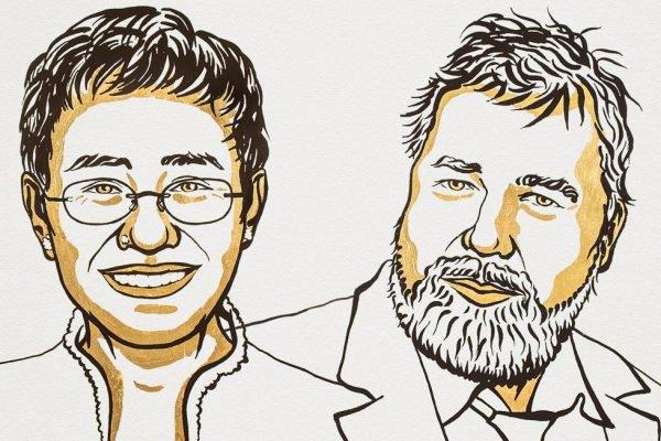 Jornalistas Maria Ressa e Dmitri Muratov, ganhadores do Prêmio Nobel da Paz 2021