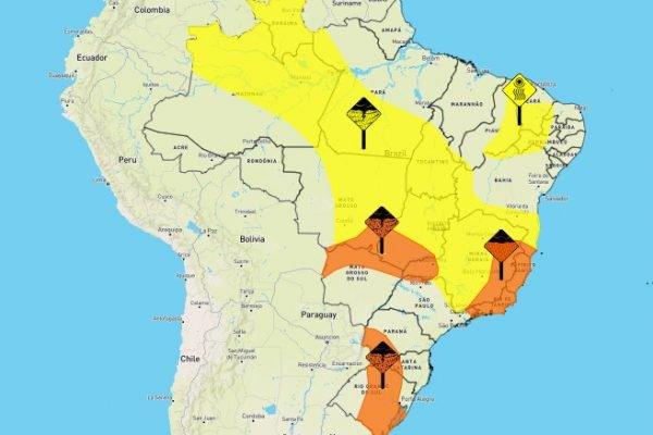 Chuva coloca 15 estados e o DF em alerta nesta segunda (11/10)