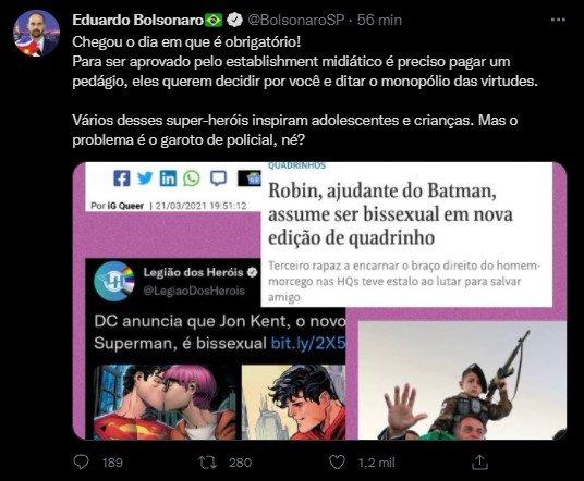 Eduardo Bolsonaro chora no twitter