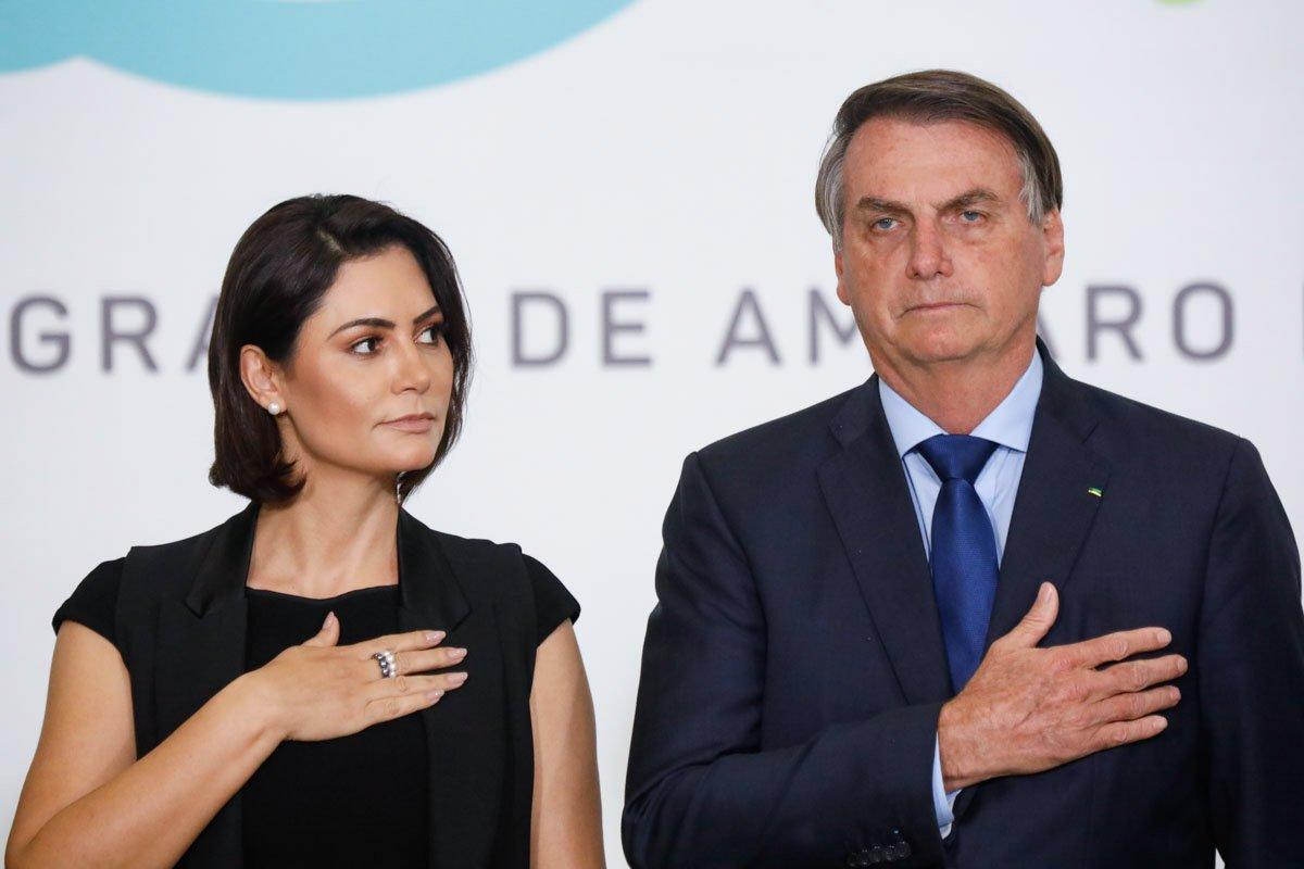 Presidente Bolsonaro e Michelle Bolsonaro durante solenidade de Lançamento do Programa Abrace o Marajó