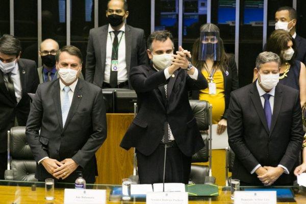 Cerimônia de abertura do ano Legislativo no Congresso Nacional. Na foto os presidentes Jair Bolsonaro, Rodrigo Pacheco e Arthur Lira