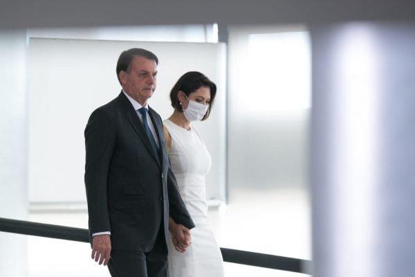 Presidente bolsonaro e Michelle bolsonaro durante Posse do novo ministro do turismo, Gilson Machado durante evento no planalto 1